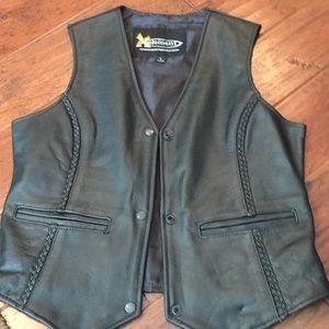 Xelement black leather vest, large